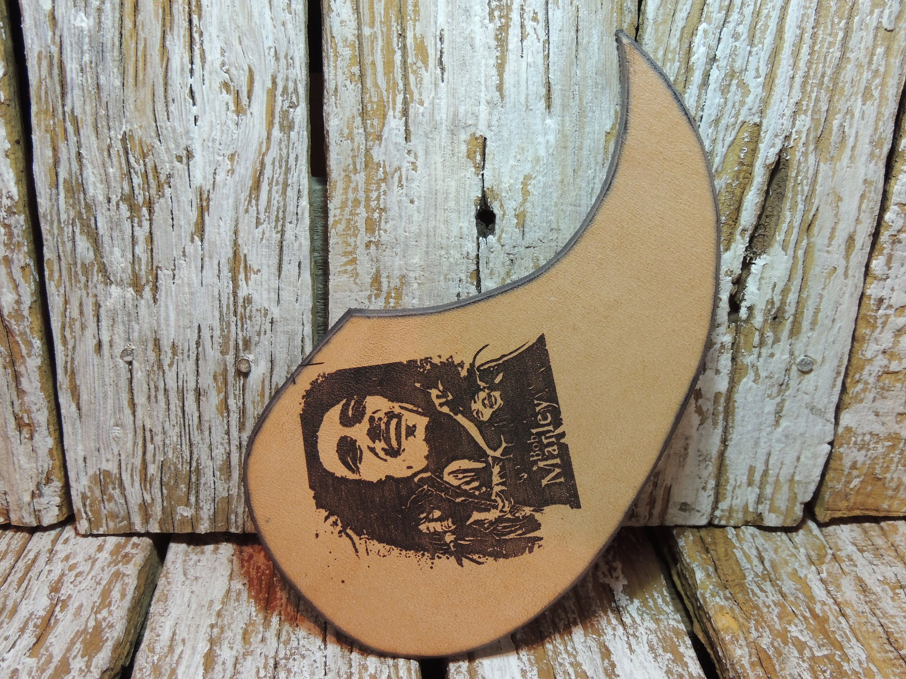 Leather Guitar Pickguard / Engraved Pickguard for Acoustic | Leather ...