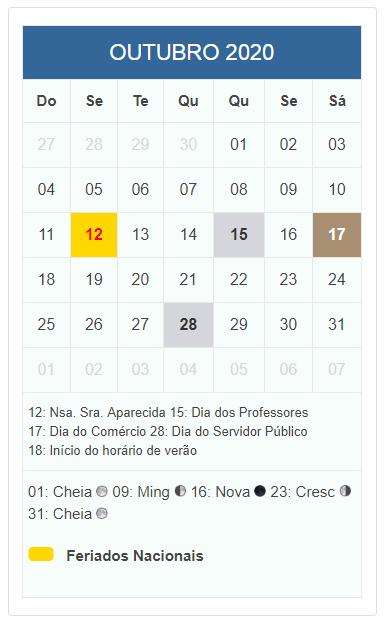 Calendario 2020 Com Feriados.Calendario Outubro 2020 Com Datas De Feriados Nacionais Do