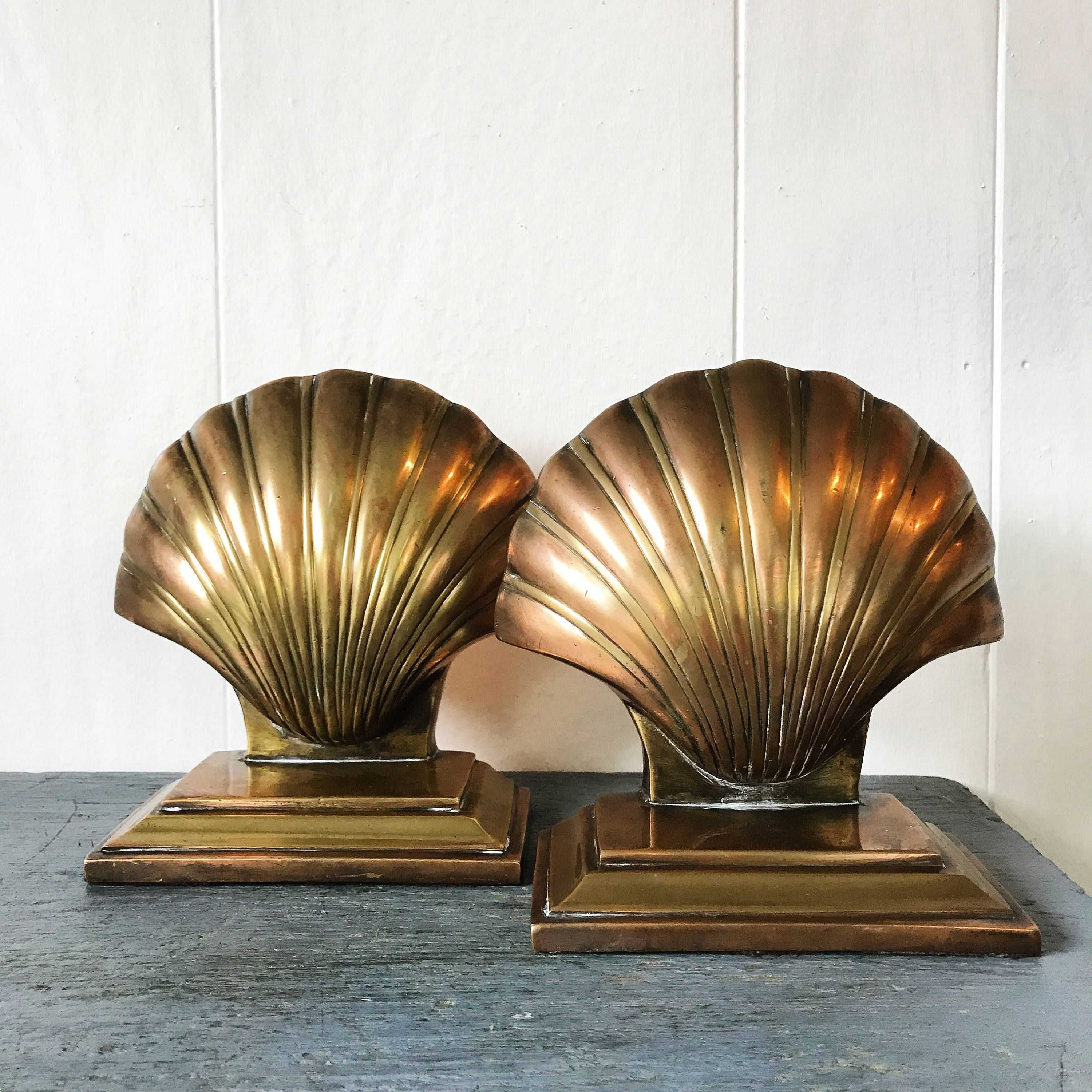 Vintage Brass Bookends   Scallop Sea Shell   Metal Copper Desk Office    Nautical Beach Decor