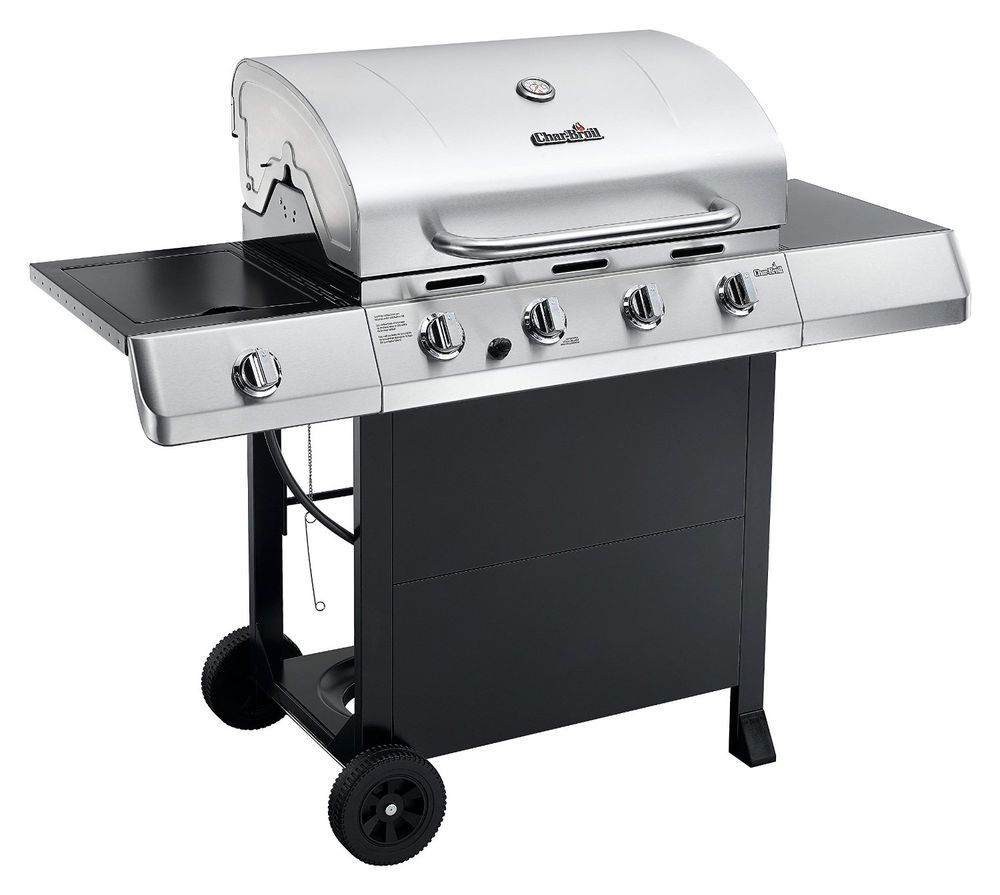 4 burner gas grill outdoor cooking station stainless steel lid