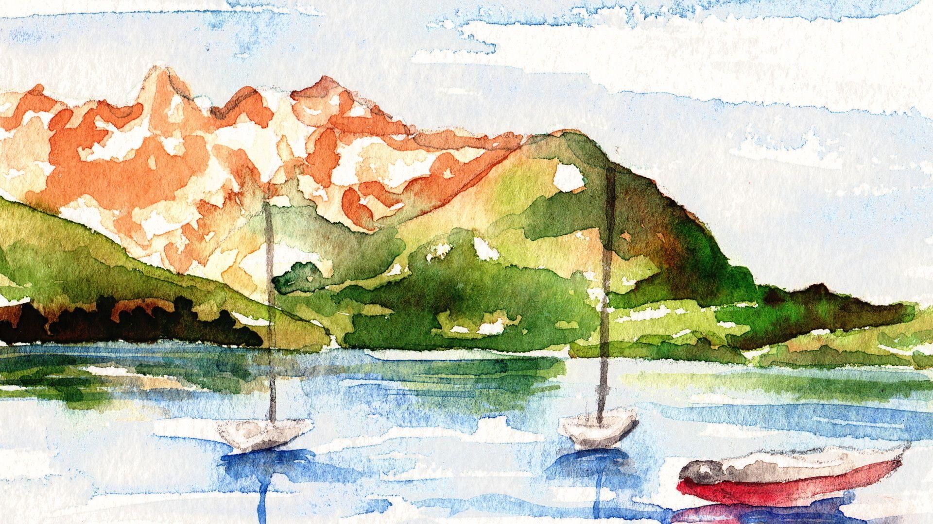 картинки простых пейзажей акварелью