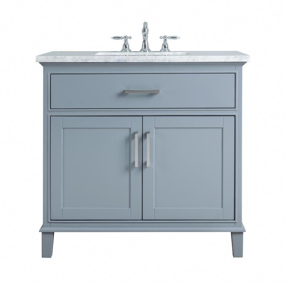 Stufurhome 36 In Leigh Single Sink Bathroom Vanity In Grey With Carrara Marble Vanity Top Single Sink Bathroom Vanity Bathroom Sink Vanity Single Sink Vanity