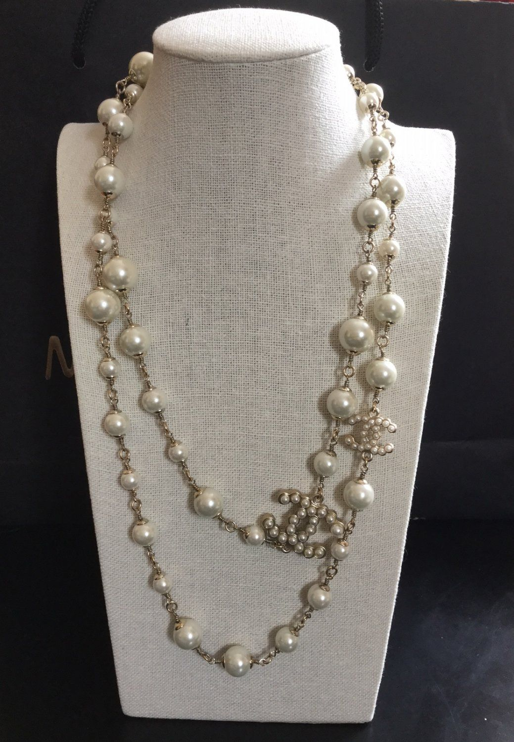 44ce4d40f7dd6 CHANEL+2+Double-Sided+CC+Pearl+Necklace+RUNWAY+CC+Gold+Chain+ ...