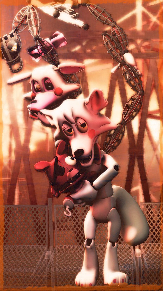 Hi kids its me mangle and my friends puppet foxy and withered mangle