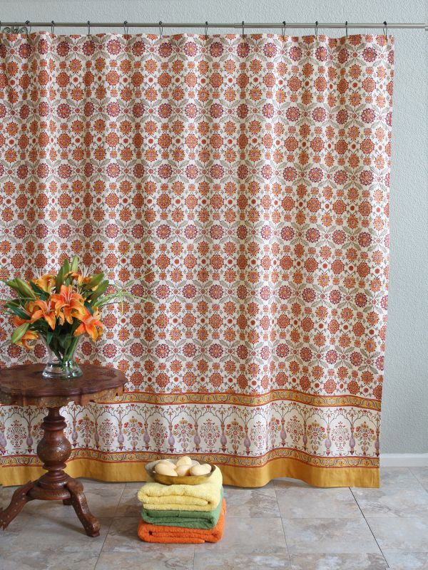 Orange And Yellow Shower Curtains, Mediterranean Shower Curtains, Persian Shower  Curtains, Fabric Sh