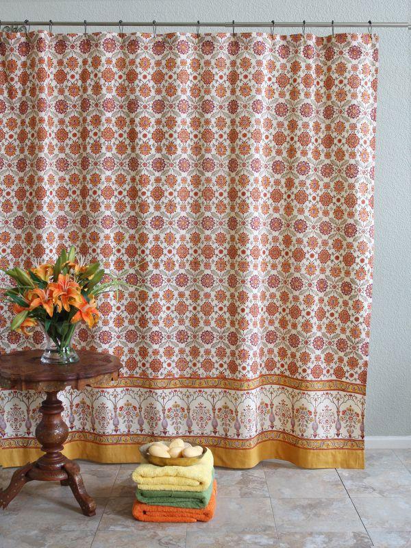 Orange Blossom Persian Mediterranean Floral Shower Curtain