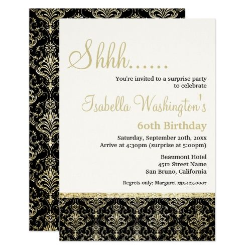 Gold Glitter Damask 60th Surprise Birthday Party Invitation Zazzle