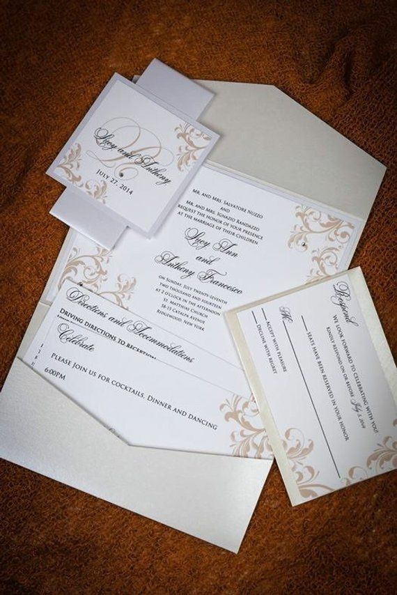 Pocket Wedding Invitations-Crystal Wedding Invites - Wedding