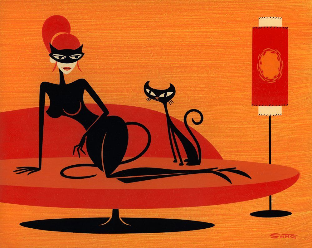 Black Kitten In Orange By Shag Josh Agle Blackcatsrule Black Cat Art Retro Art Retro Artwork
