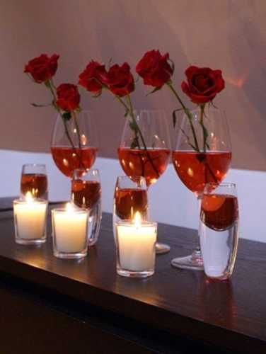 Romantic candles centerpieces for valentines day table