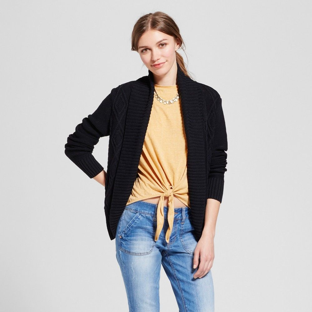 Women's Cable Cocoon Cardigan - Mossimo Supply Co. Black M, Size ...