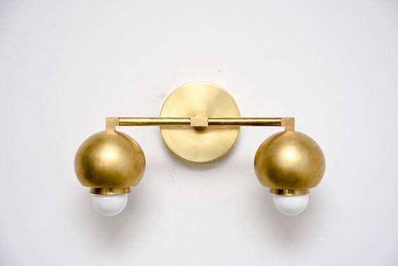 Photo of Items similar to Raw Brass Gold 2 Light Wall Bathroom Sconce Cone Sphere Metal Covers Vanity 2 Bulb Modern Mid Century Industrial UL Listed on Etsy