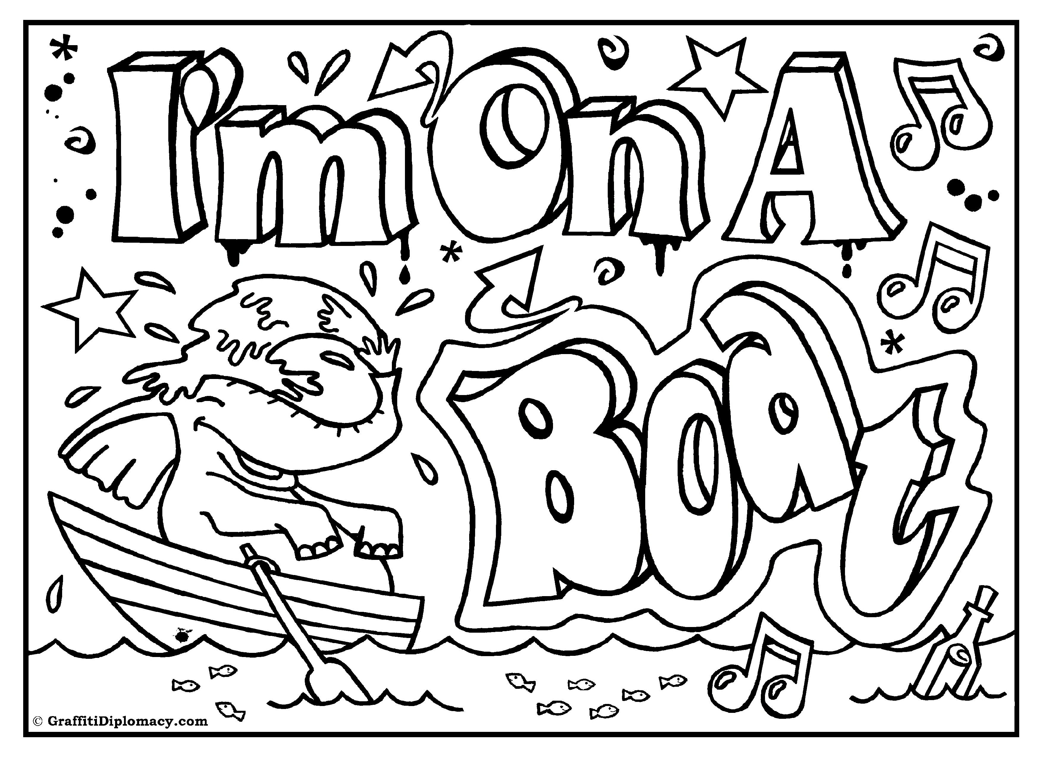 I M On A Boat Printable Room Sign Coloring Page With