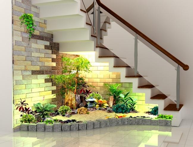 Escaleras interio jard n interior en 2019 decoraci n for Jardin interior bajo escalera