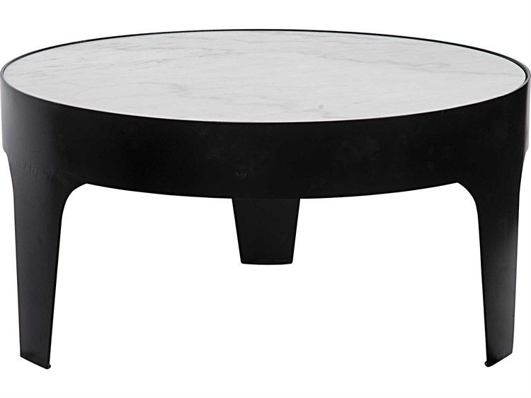 1104 Noir Furniture Cylinder Metal Quartz 36 Round Coffee Table Black Coffee Tables Coffee Table Wood Round Coffee Table