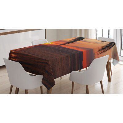 East Urban Home Ambesonne Tropical Tablecloth, Sunrise On Sea Palm Trees Exotic Holiday Honeymoon Romantic Beach Morning Scene, Rectangular Table Cover For Dining Room Kitchen Decor, 52 X 70, Orange Yellow #beachhoneymoonclothes