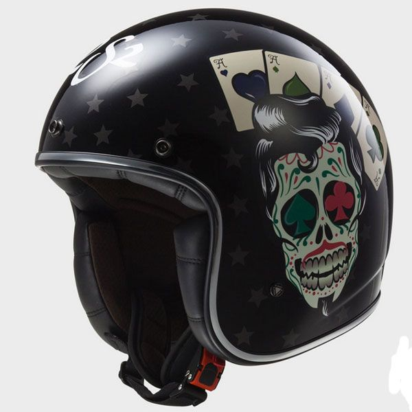 Ls2 Casque Jet Fibre Moto Scooter Of58331 Tattoo Noir Brillant