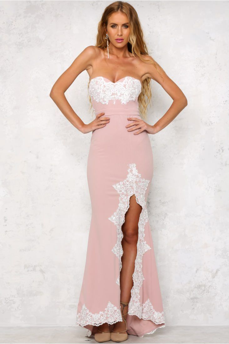 The stunning Svelte Maxi Dress Pink is strapless and a bodycon fit ...
