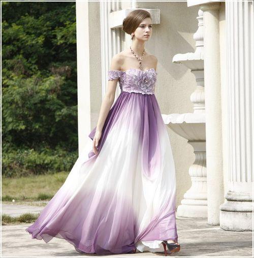 Violet Empire Soft Purple Evening Gown