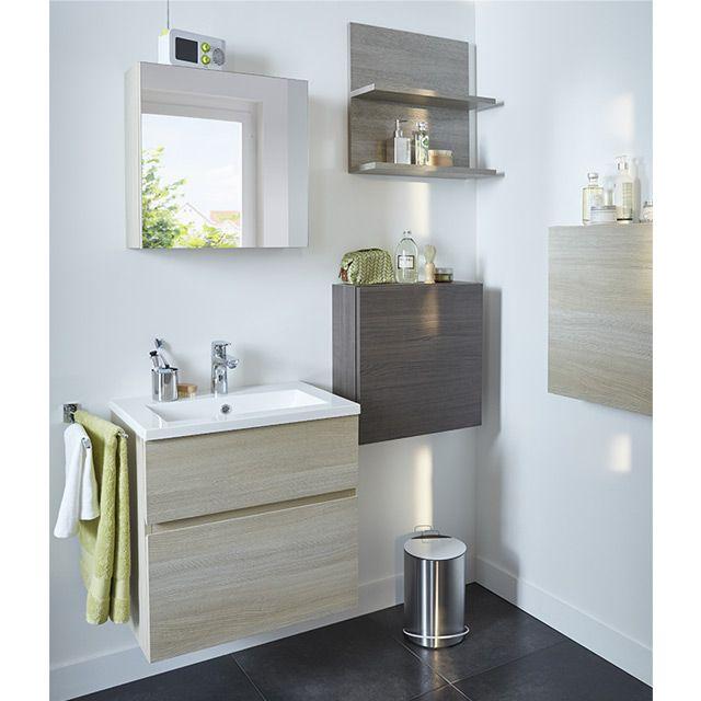Meuble de salle de bains décor chêne nat. 60cm prof.38cm Calao ...