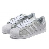 5306f8f87c6 Adidas Superstar 2 Leather Chaussure Running Pour Femme Argent Blanc - p1yAo