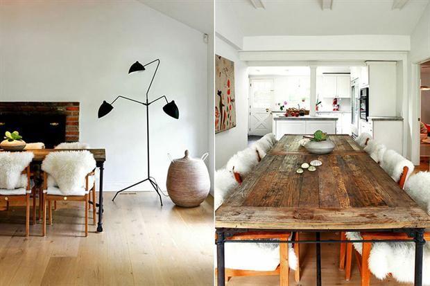 Tablones antiguos y patas inspiradas en andamios forman esta mesa que otorga calidez a este espacio de tipología moderna.