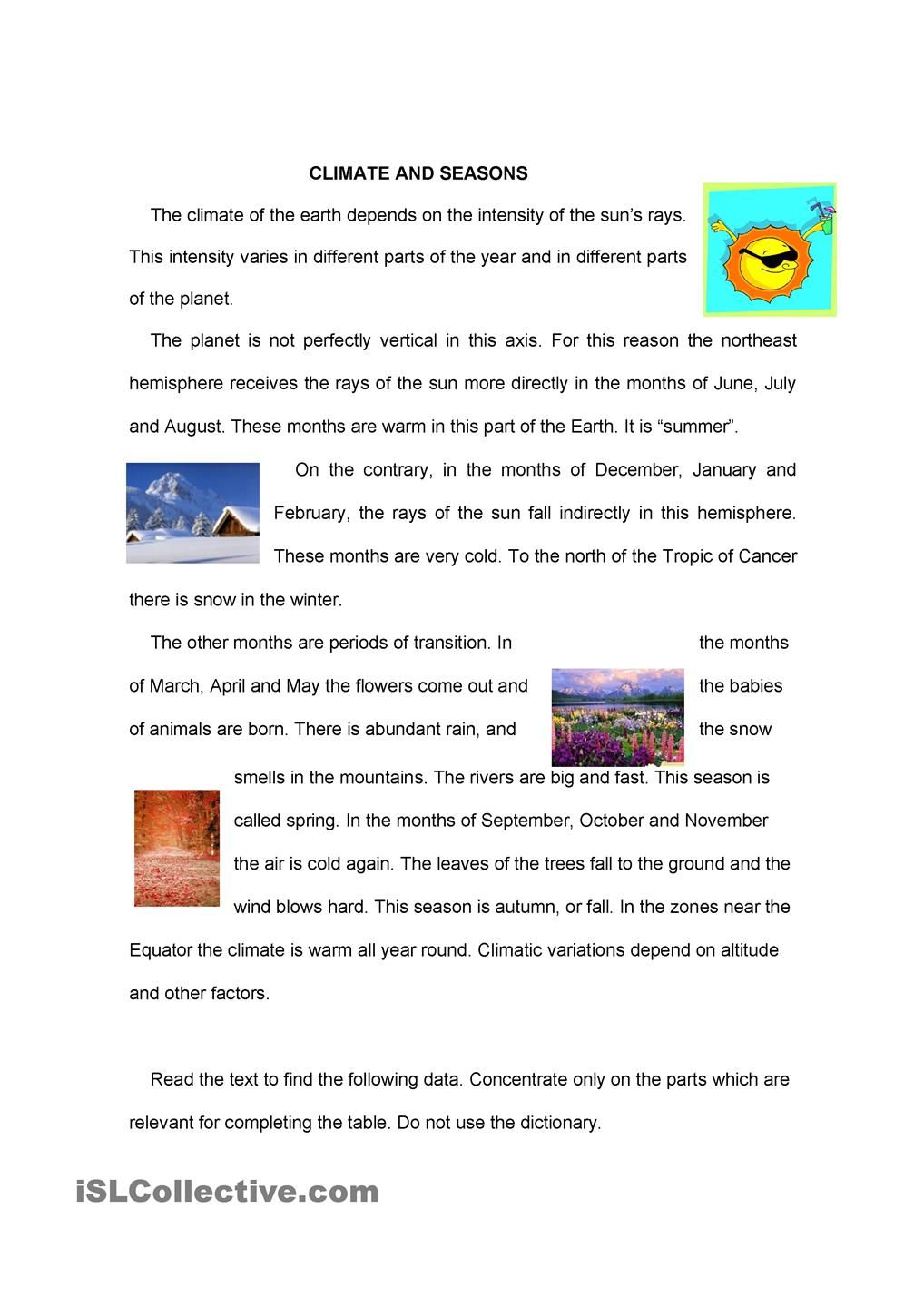 hight resolution of SEASONS   Reading comprehension worksheets