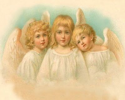 This beautiful trio of angels is from a vintage Christmas postcard.