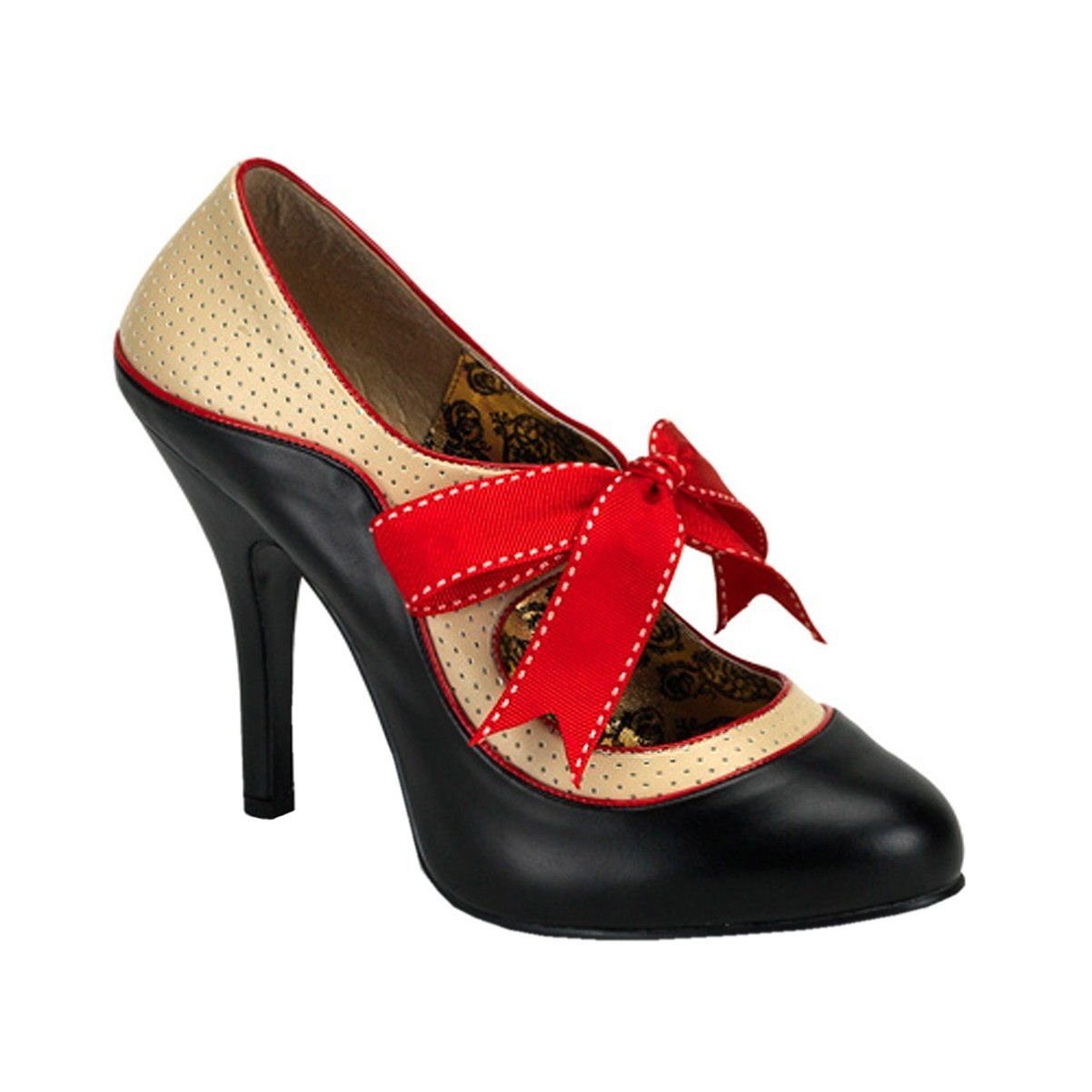 Womens Classic Mary Jane Pumps 4 1/2 Inch Heel Two Tone Shoes Red ...