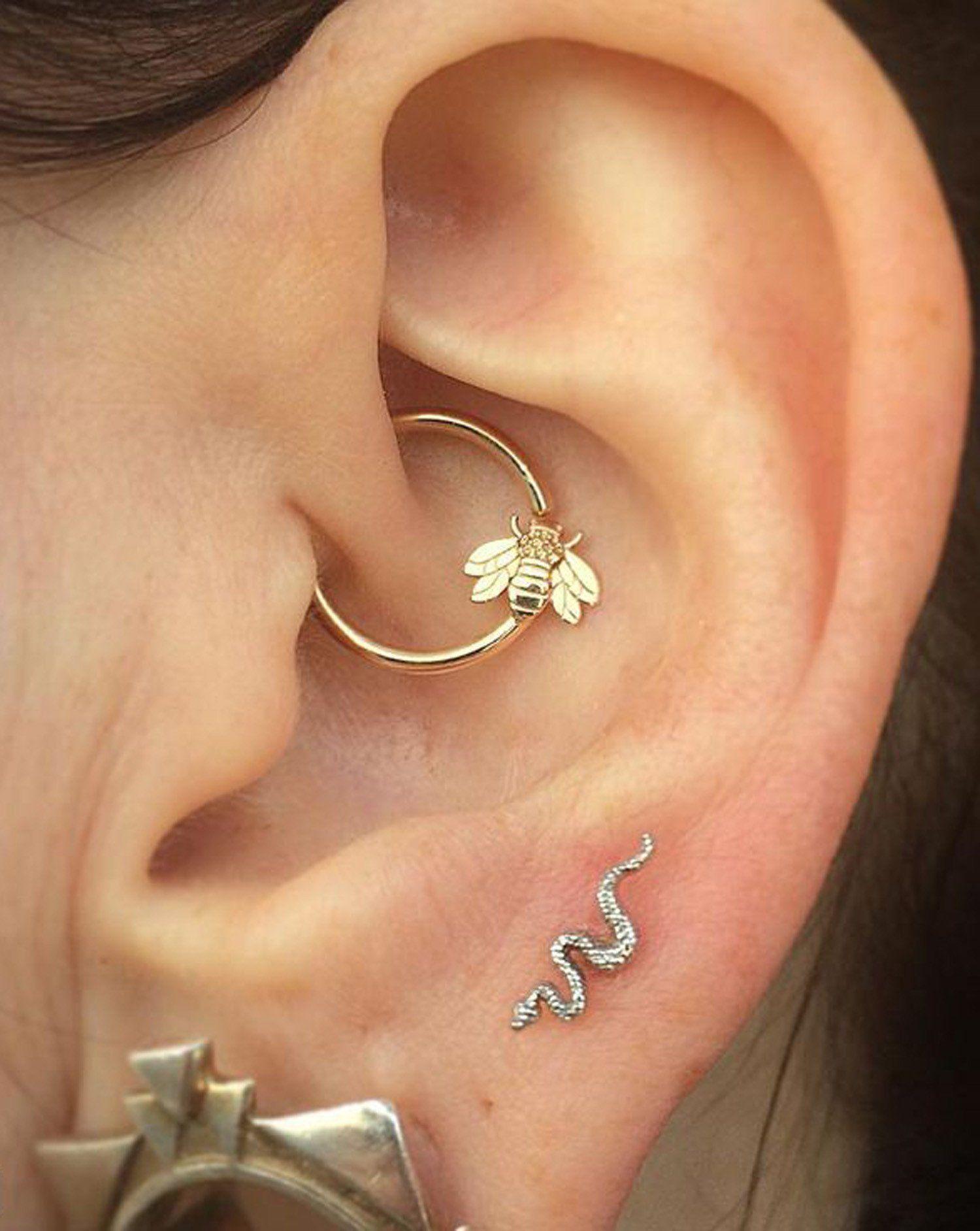 Ear Piercing Inspiration  Beautiful Bee Tragus Hoop  Snake Earring  Cute  Earrings  Mybodiart