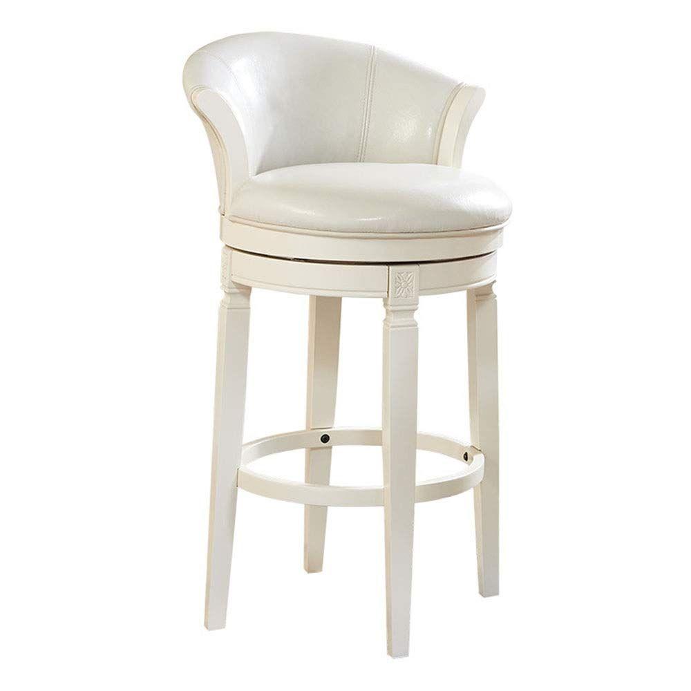 Cigkany Barstools Wooden Swivel Bar Stool With Pu Leather Cushion Seat And Low Back Backrest White Counte In 2020 Wooden Swivel Bar Stools Swivel Bar Stools Bar Stools