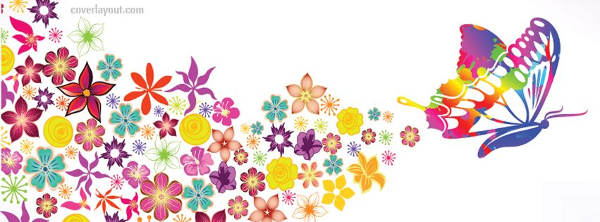 Colorful Butterfly Flowers Facebook Cover Coverlayout Com Facebook