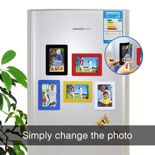 Magnetic Photo Frame Fridge Magnets Refrigerator Decor Flexible ...
