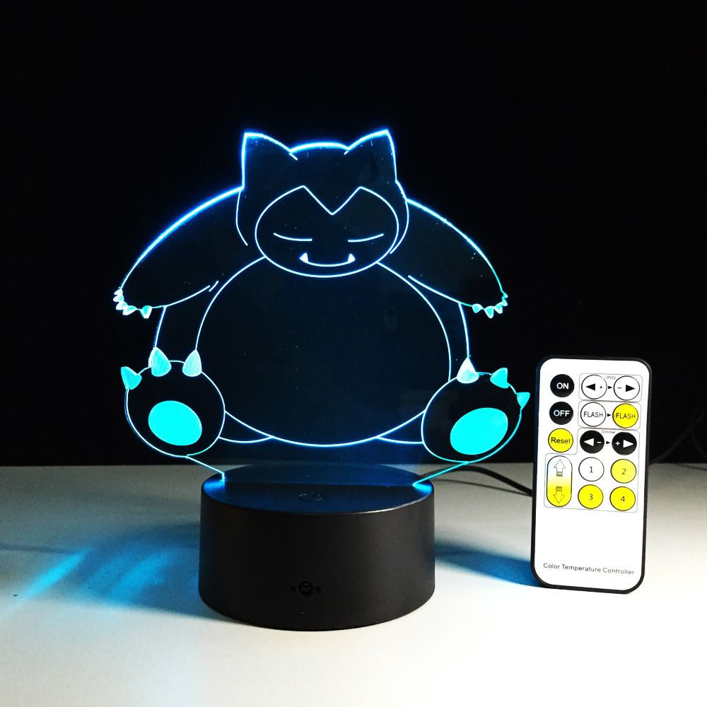 Click To Buy Snorlax Pikachu Lights 7 Color Changing Pikachu Toys Snorlax Pokeball Children Action Figure Toys Xmas New 3d Night Light Night Light Lamp