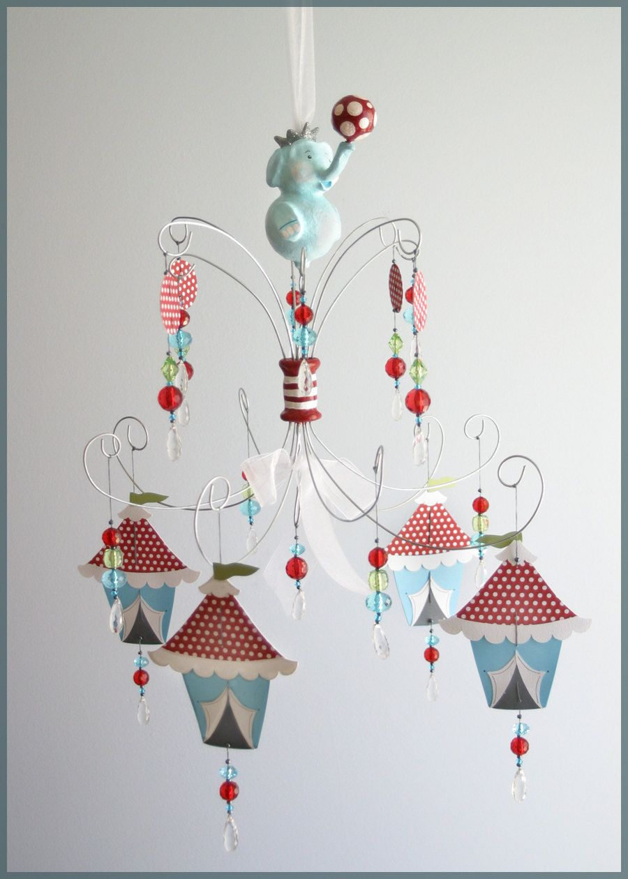 Circus elephant chandelier mobile baby mobile nursery mobile blue circus elephant chandelier mobile baby mobile nursery mobile blue red arubaitofo Gallery