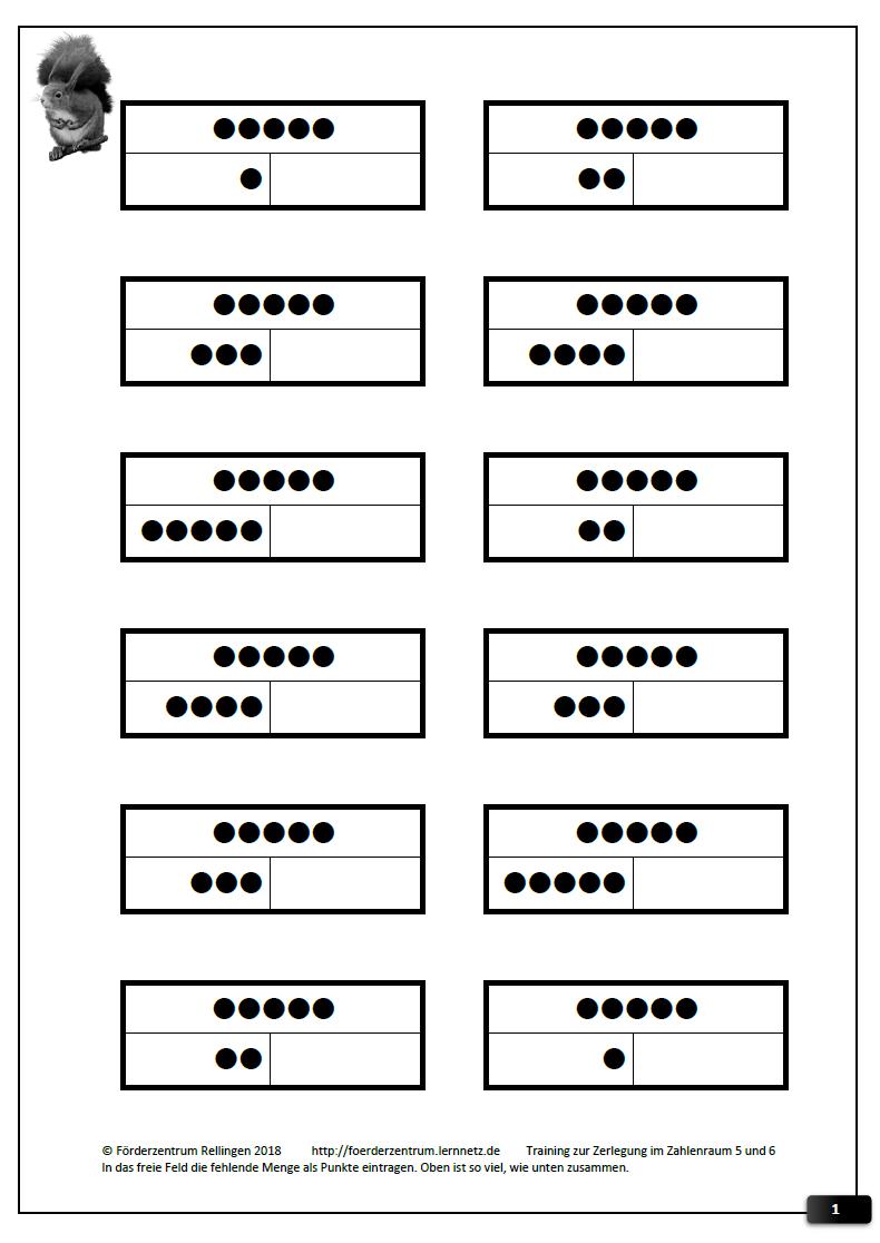 Teil Teil Ganzes, Zahlenraum bis 5 und dann bis 6 (13 Arbeitsblätter ...