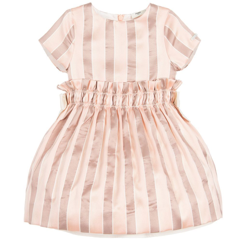 9c7c20ec6357 The luxurious silk satin fabric makes this little mini-me baby dress by  Fendi just perfect for special occasions. The layers of tulle beneath the  gathered ...