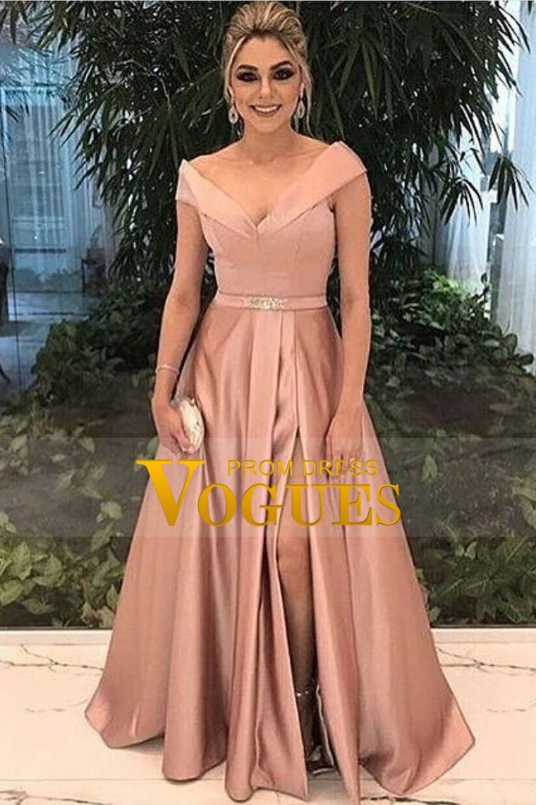 a line new arrival off the shoulder satin evening dresses with