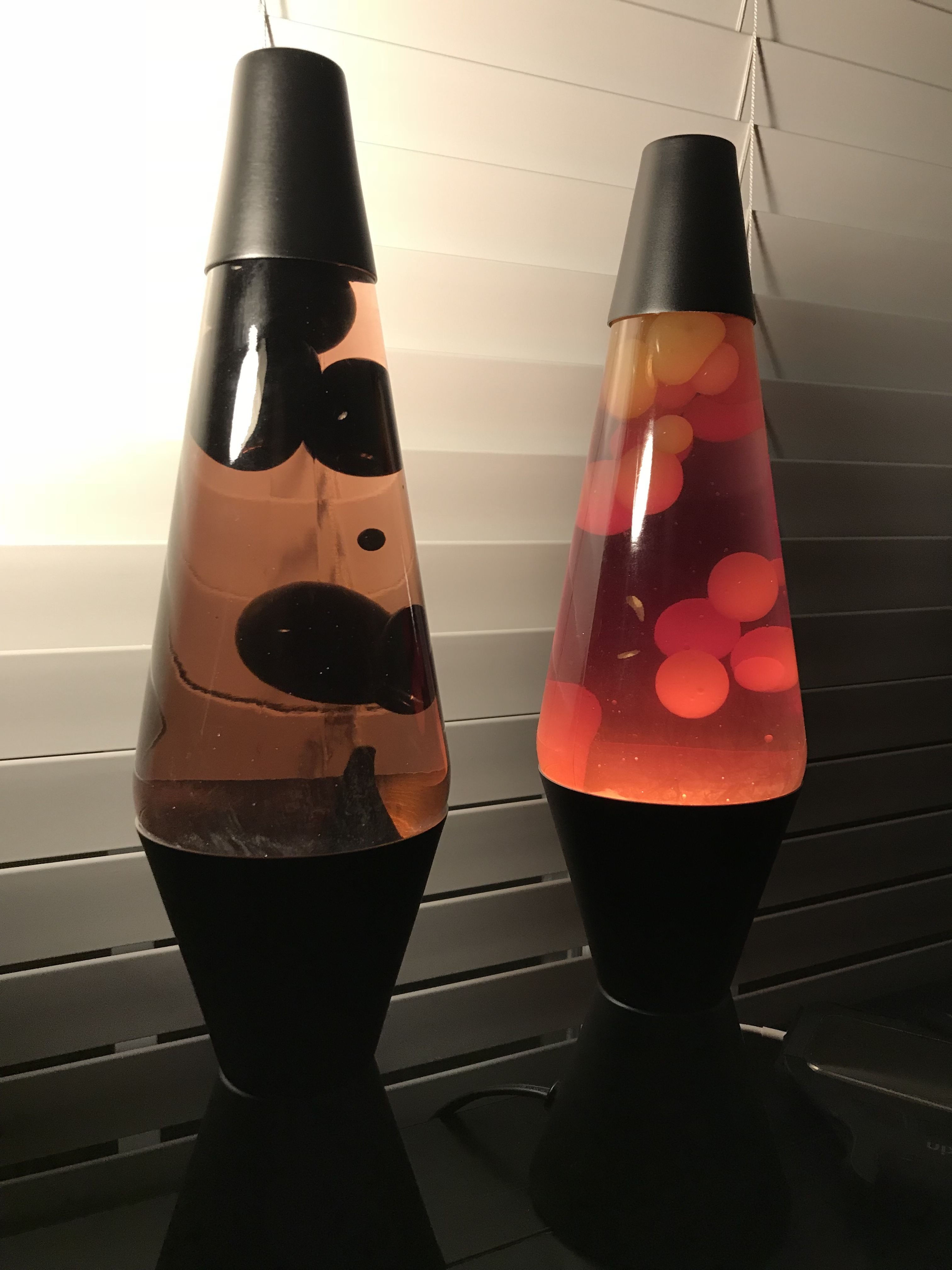 Two 14 Classic Lava Lamps On Matte Black Chalkboard Bases Lamp Lava Lamp Creative Lamps