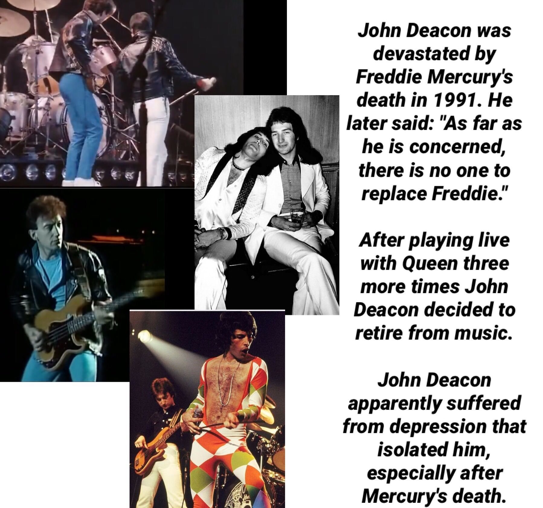 John Deacon and Freddie Mercury of Queen #freddiemercuryquotes
