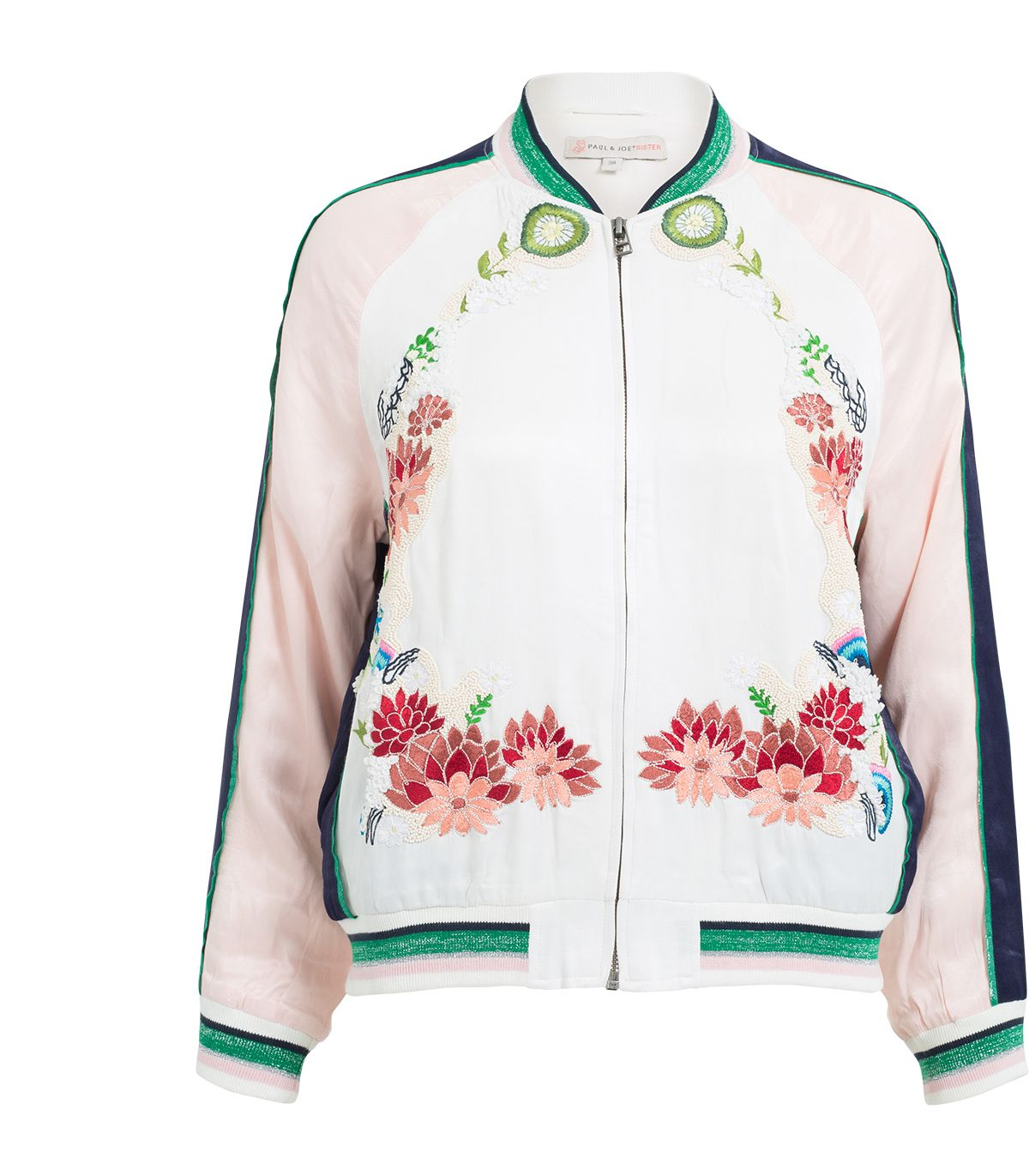 Les Fleurs embroidered viscose bomber