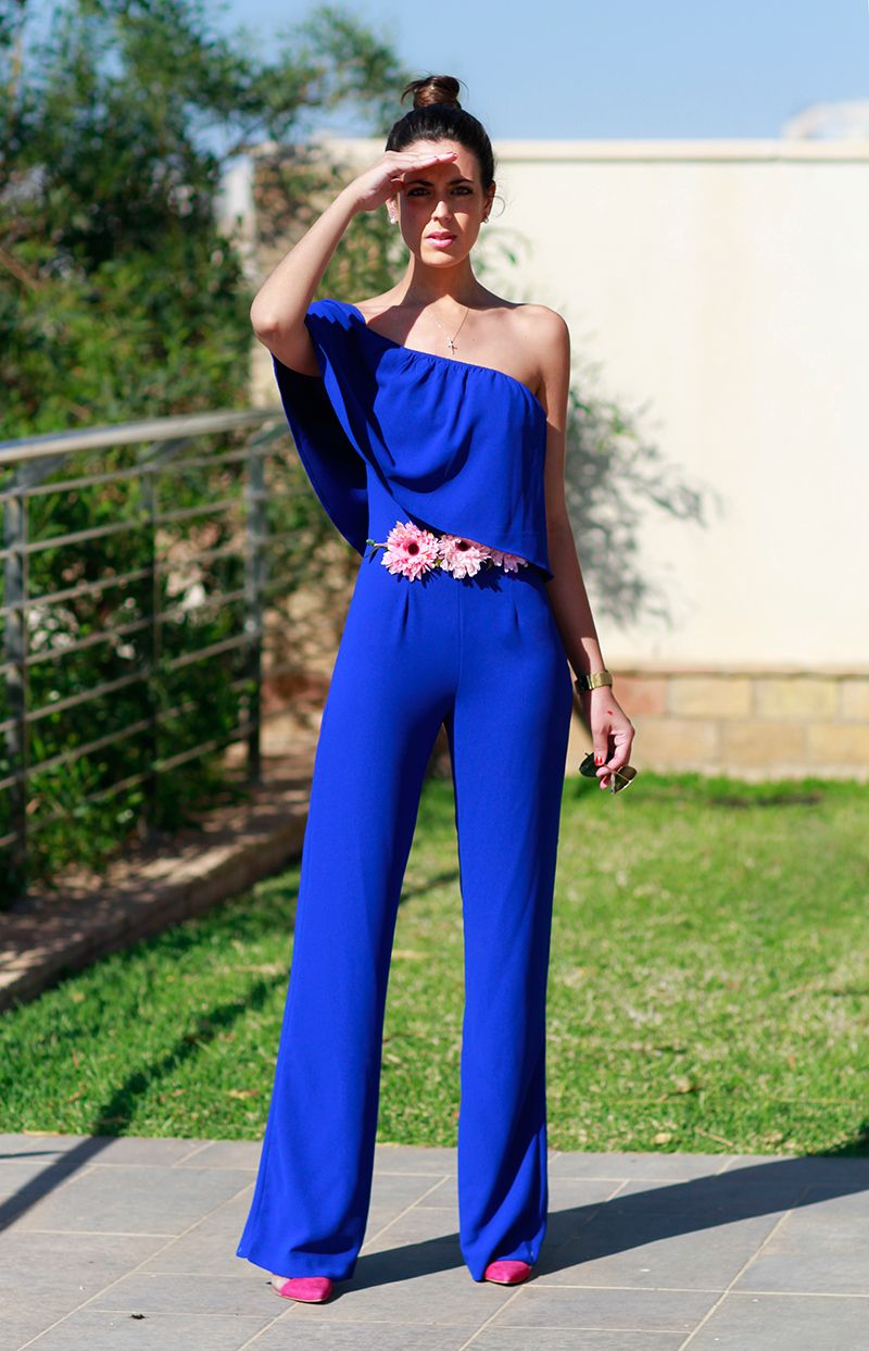Mg8798 Jumpsuit Elegantes Y Casuales Vestidos Azul Rey