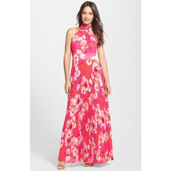 Women's Eliza J Print Chiffon Maxi Dress found on Polyvore featuring polyvore, fashion, clothing, dresses, gowns, pleated chiffon maxi skirt, floral maxi skirt, long pleated chiffon skirt, chiffon maxi skirt and floral print evening gown