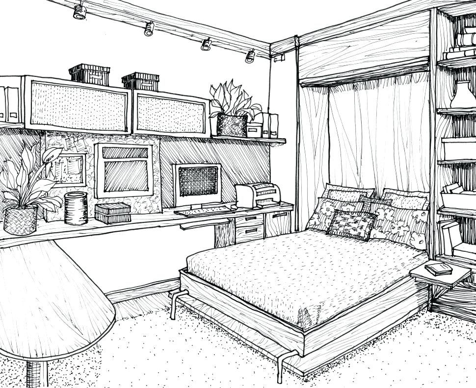 Drawn Bedroom 2point Perspective 6 970 X 792 Dumielauxepices