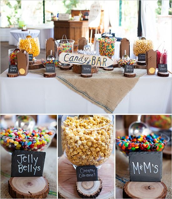 Wooden Candy Table ~ Candy bar love all the wood giving it a different look