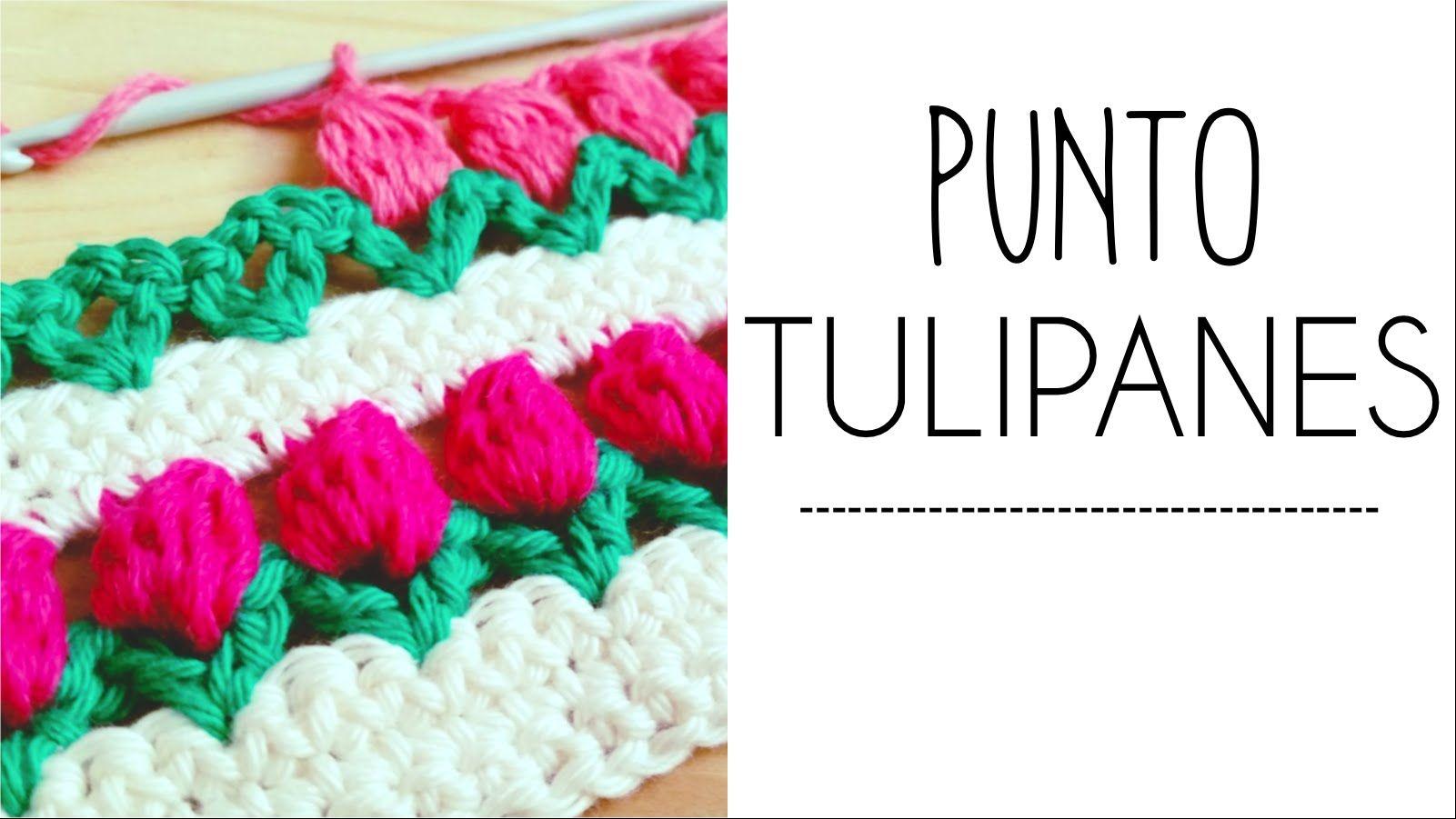 Punto TULIPANES en fila a Crochet - #PuntoPedia | tejer | Pinterest ...