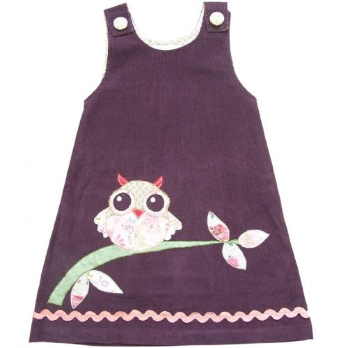 Applique Owl Pinafore Corduroy Dress for baby £24.99 in Aubergine purple