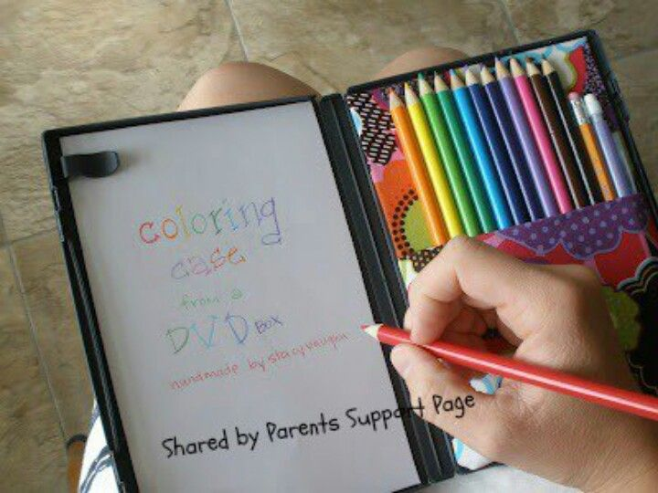 DVD case storage for colored pencils and notebook