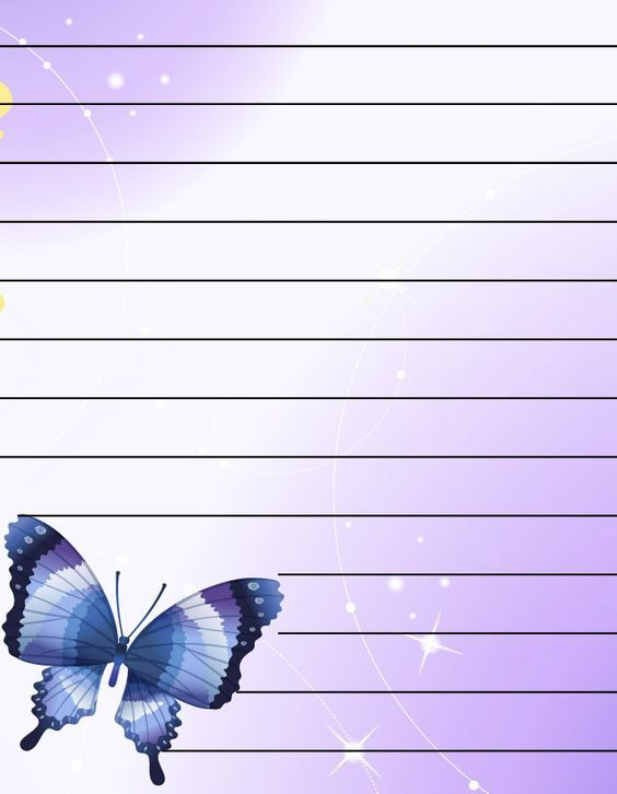 Butterflies Lined Writing Paper,a4 lined paper to print for free