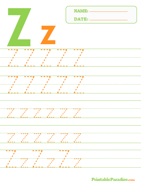 Printable Letter Z Tracing Worksheet Abc Letter Tracing